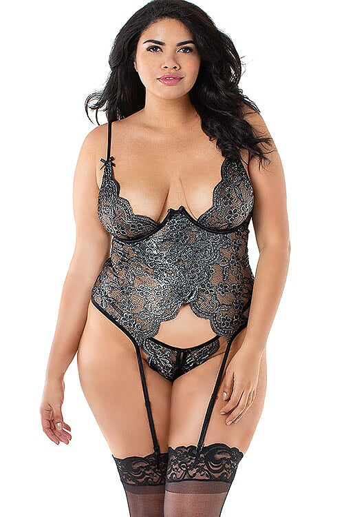 Dreamgirl Soft Shimmer Metallic Gartered Bustier - Saucy Ladies Intimates