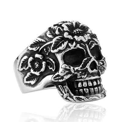 Funky Stainless Steel Flower Skull Ring