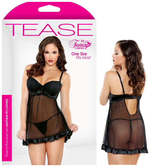 Tease Shirred Cup Babydoll & Panty Set - Saucy Ladies Intimates