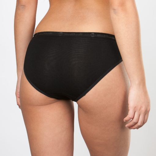 Classic Bikini - Light Absorbency - Black - Saucy Ladies Intimates