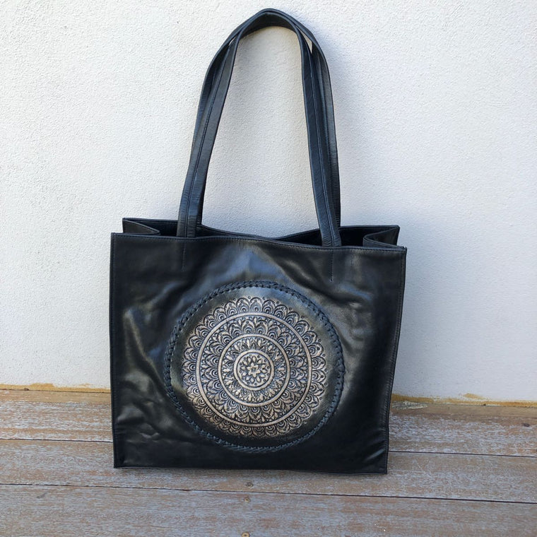 Hand Tooled Mandala & Stitch Tote