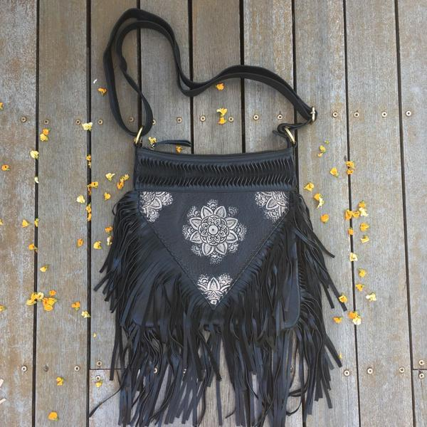 Hand Tooled Detail Flower & Fringe Bag