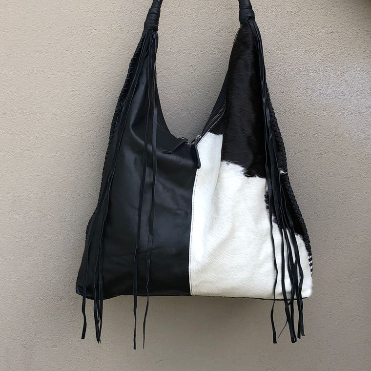Hide & Leather Rope & Tassel Bag