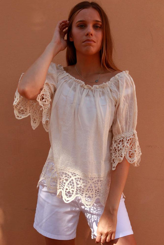 Boho Crochet Sleeve Hem Top - Saucy Ladies Intimates