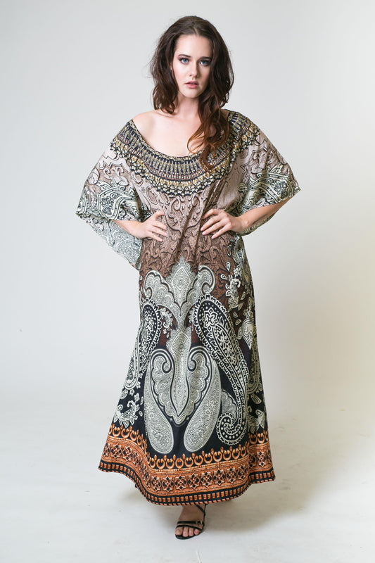 Embellished Kaftans Mocha Sheesha Round Neck Kaftan - Saucy Ladies Intimates