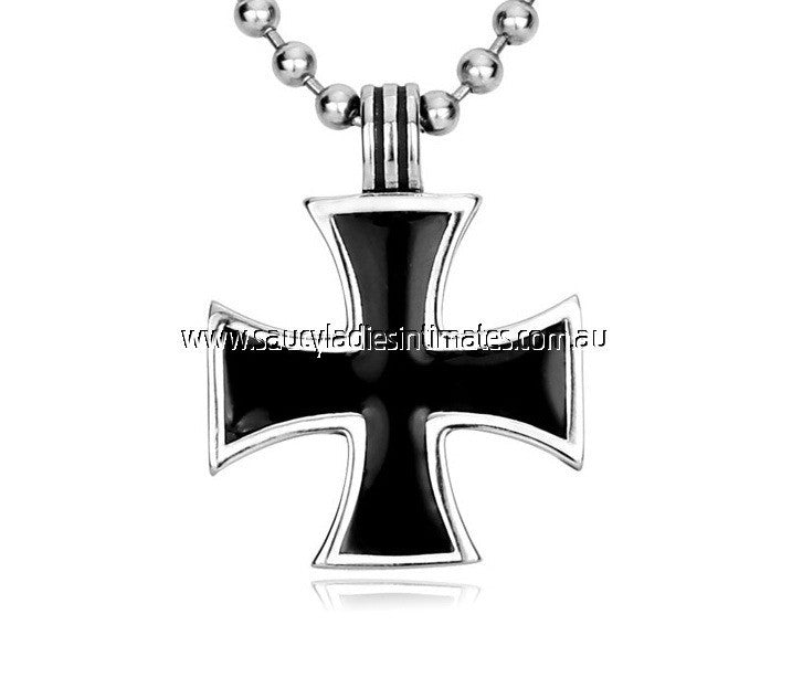 Funky Stainless Steel Enamel Cross Necklace