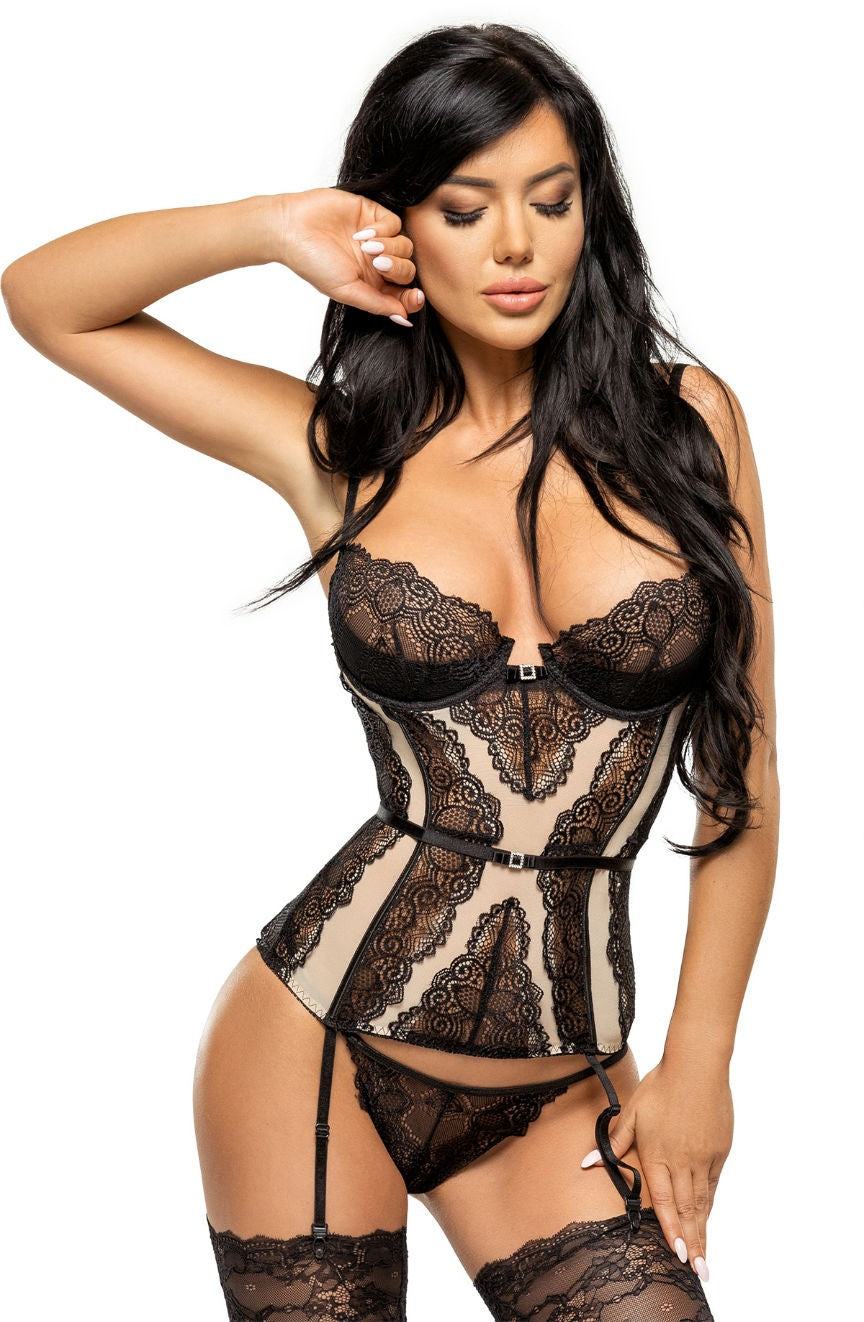 Beauty Night Ravenna Corset - Black & Nude - Saucy Ladies Intimates