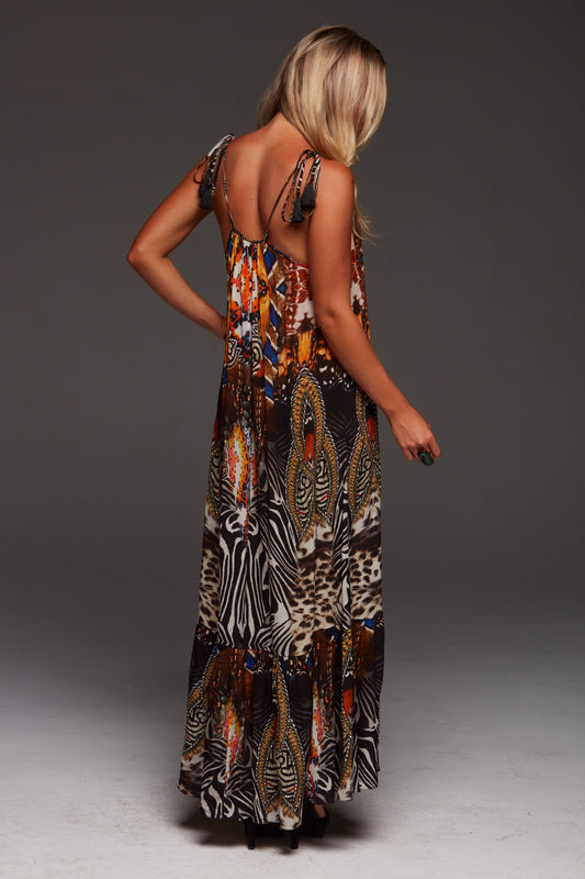 "Czarina ""Wild Leopard"" Shoe-String Maxi Dress - Saucy Ladies Intimates"