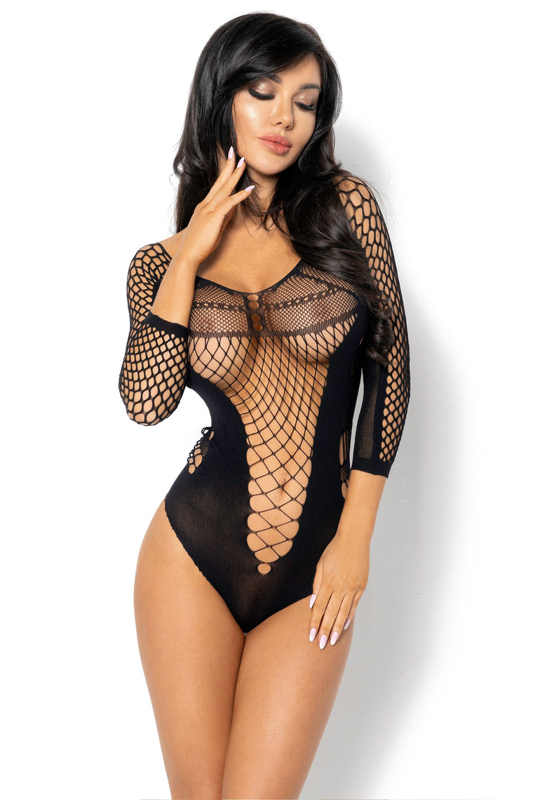 Beauty Night Lucelia Teddy Bodystocking - Black