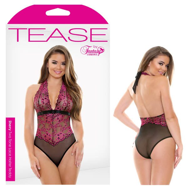 Tease Sherry Two Tone Lace Halter Teddy - Saucy Ladies Intimates