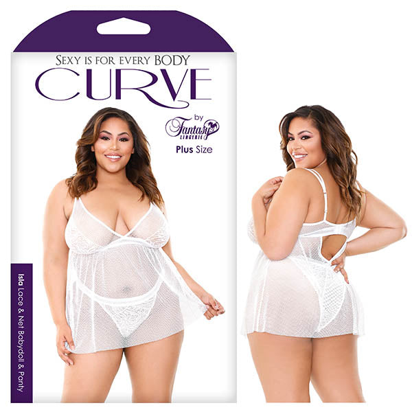 Curve Isla Lace & Net Babydoll & Panty - Saucy Ladies Intimates