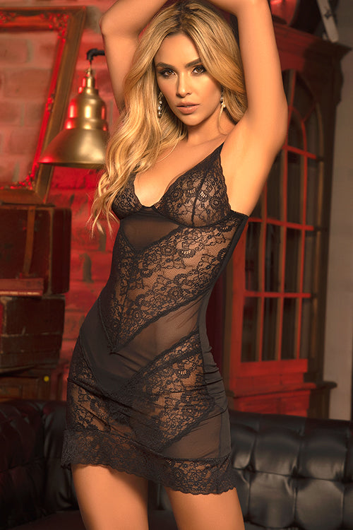 Mapale by Espiral Melodrama Lace & Mesh Chemise with G-String - Saucy Ladies Intimates