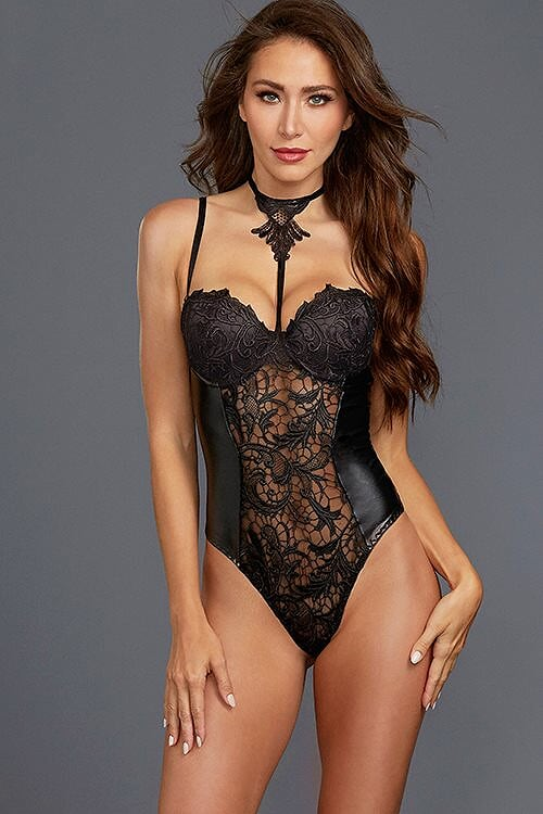 All Night Long Collared Wet-Look & Lace Bodysuit
