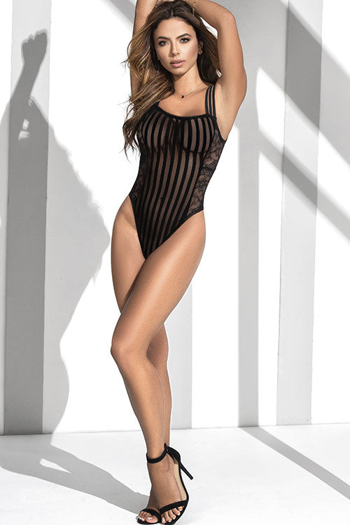 Mapale by Espiral Fine Lines Striped Mesh & Lace Teddy - Saucy Ladies Intimates