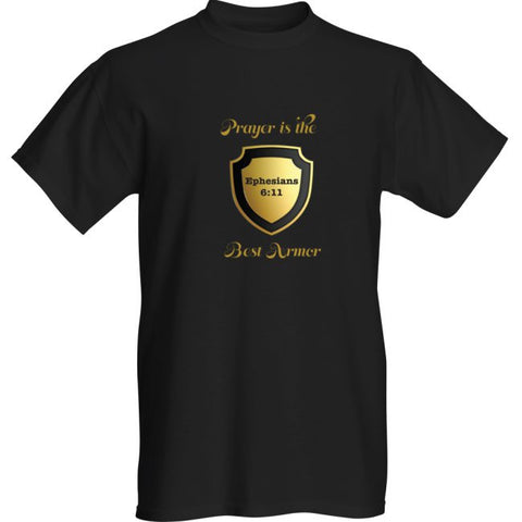 """PRAYER IS THE BEST ARMOR"" MENS TEE- BLACK - Spirituali-Tee Apparel Gifts & Accessories - 1"
