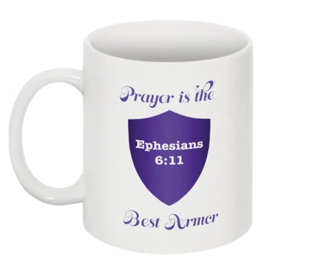 """PRAYER IS THE BEST ARMOR"" MUG PURPLE - Spirituali-Tee Apparel Gifts & Accessories"