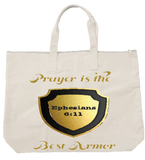 """PRAYER IS THE BEST ARMOR"" TOTE- BLACK - Spirituali-Tee Apparel Gifts & Accessories - 2"