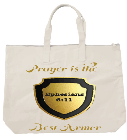 """PRAYER IS THE BEST ARMOR"" TOTE - Spirituali-Tee Apparel Gifts & Accessories - 1"