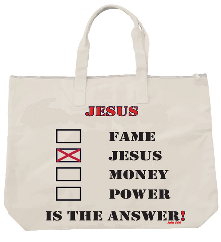 """JESUS IS THE ANSWER"" TOTE - Spirituali-Tee Apparel Gifts & Accessories"