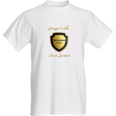 """PRAYER IS THE BEST ARMOR"" MENS TEE - Spirituali-Tee Apparel Gifts & Accessories - 1"