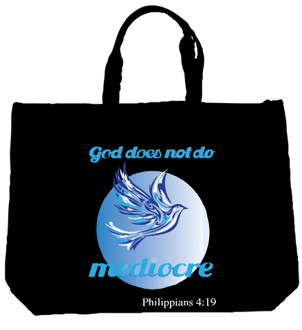 """GOD DOES NOT DO MEDIOCRE"" DOVE TOTE- BLACK - Spirituali-Tee Apparel Gifts & Accessories"