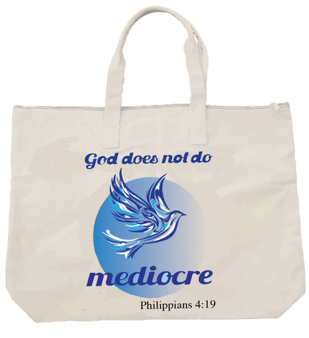 """GOD DOES NOT DO MEDIOCRE"" DOVE TOTE - Spirituali-Tee Apparel Gifts & Accessories"