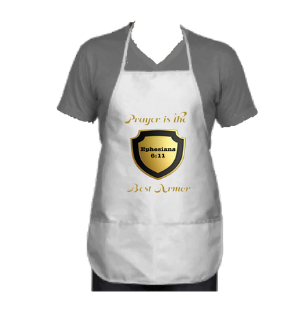 """PRAYER IS THE BEST ARMOR"" APRON GOLD - Spirituali-Tee Apparel Gifts & Accessories"