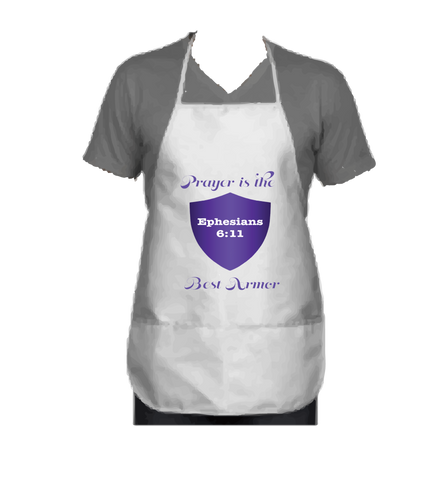 """PRAYER IS THE BEST ARMOR"" APRON PURPLE - Spirituali-Tee Apparel Gifts & Accessories"