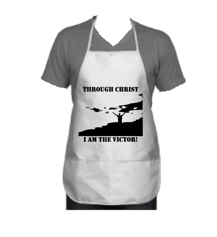 """THROUGH CHRIST I AM THE VICTOR"" APRON - Spirituali-Tee Apparel Gifts & Accessories"
