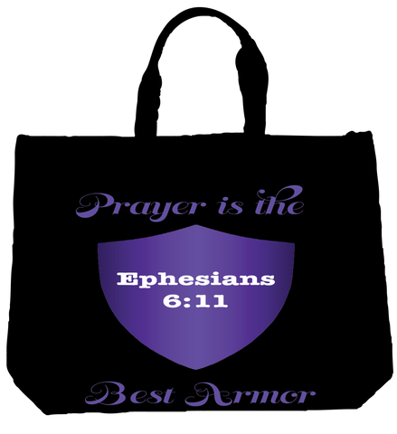 """PRAYER IS THE BEST ARMOR"" PURPLE  TOTE- BLACK - Spirituali-Tee Apparel Gifts & Accessories - 1"
