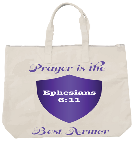 """PRAYER IS THE BEST ARMOR"" PURPLE TOTE - Spirituali-Tee Apparel Gifts & Accessories - 1"