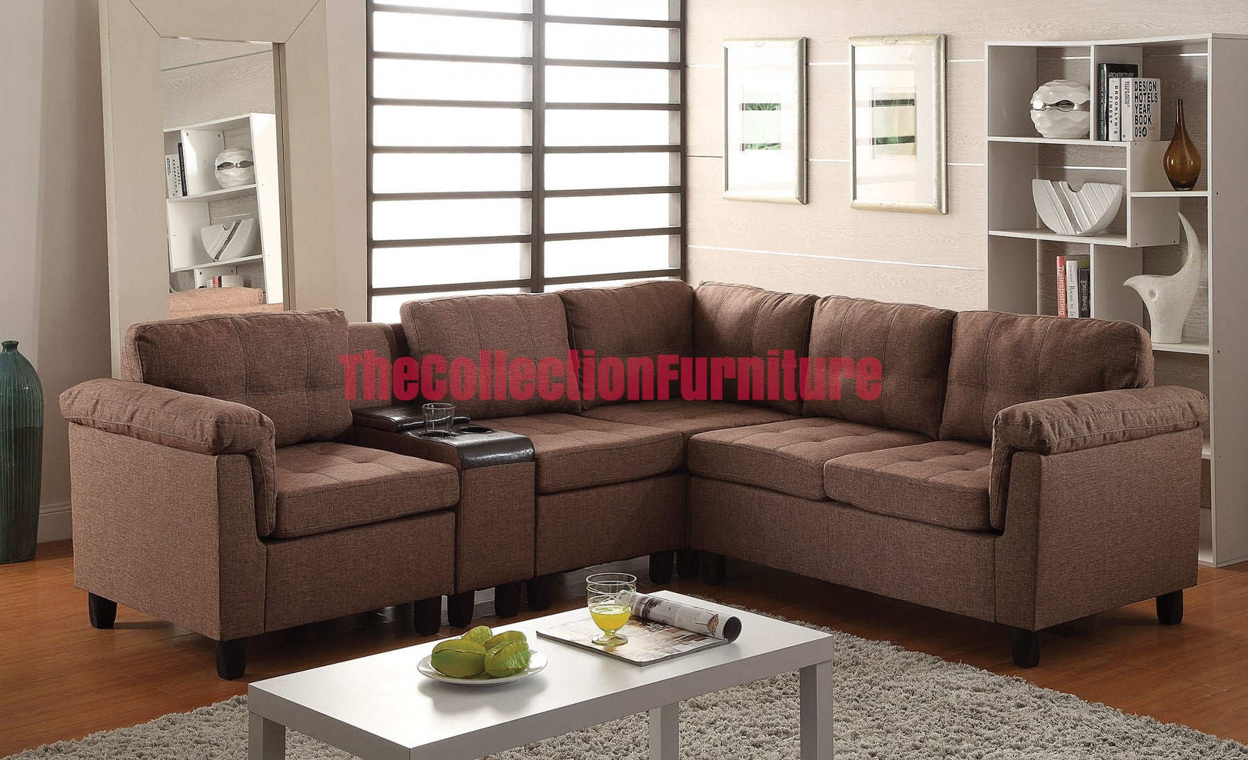 Cleavon brown linen sectional the collection furniture