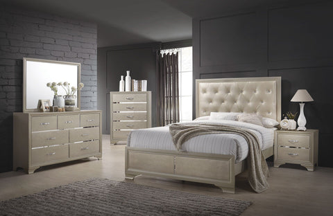 Beaumont Champagne Upholstered Panel Bedroom Set