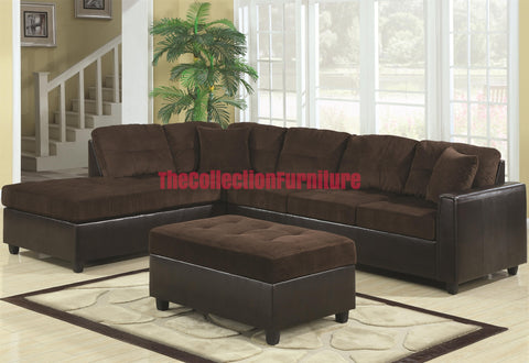 Henri Chocolate Sectional with Ottoman