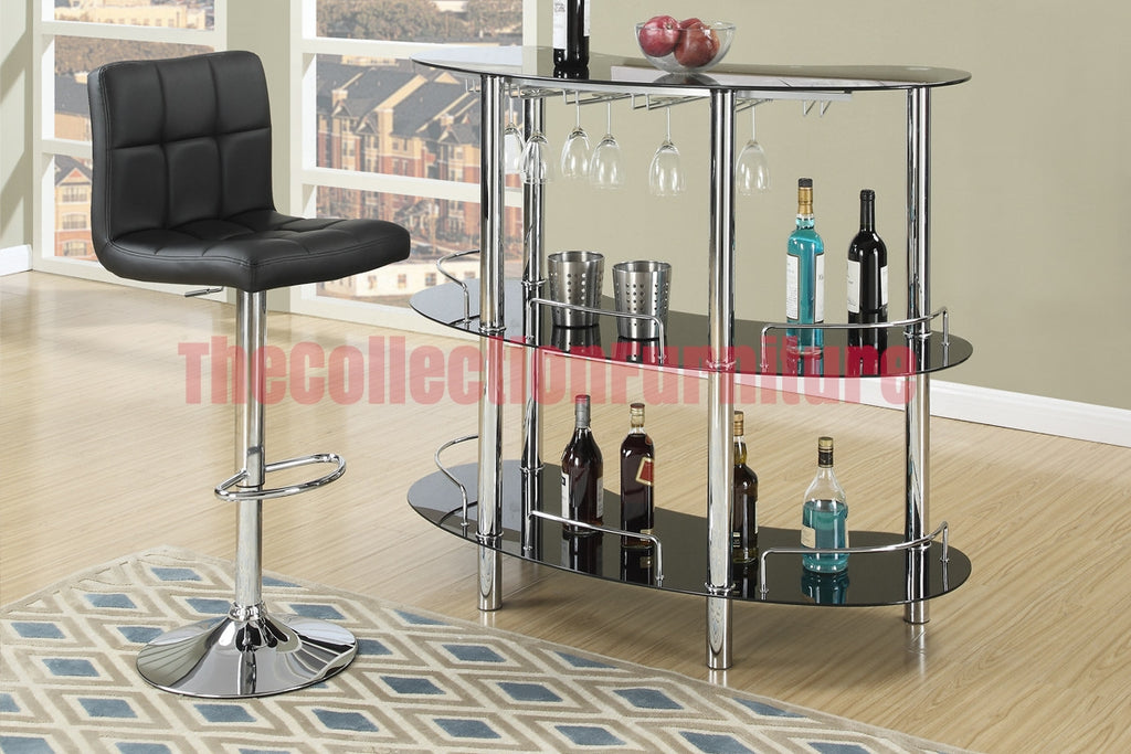BAR STAND/BLACK GLASS TOP