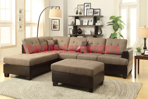 Jean Tan Linen Sectional with Ottoman