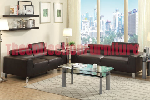 Espresso Modern Sofa and Loveseat Set