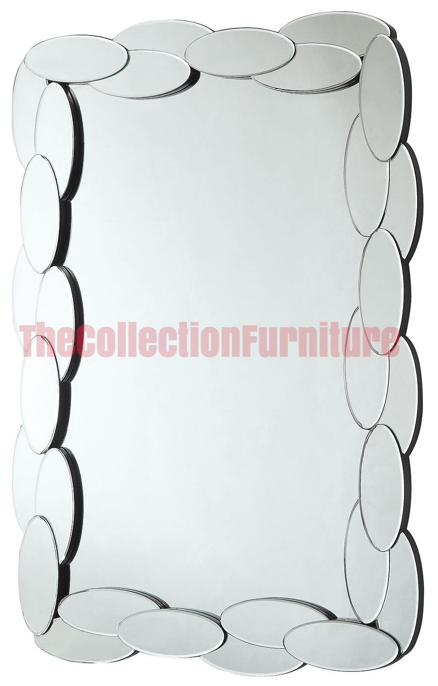 Accent Mirrors Rectangular Mirror With Mirrored Oval Frame