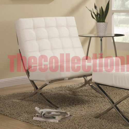 Lucia White Chrome Accent Chair – The Collection Furniture