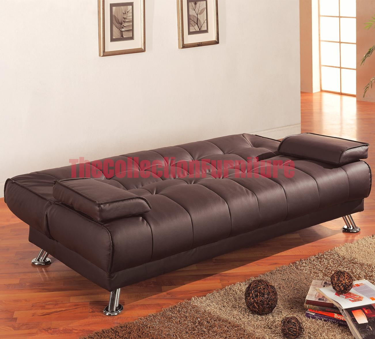 Brown Leatherette Modern Futon Sofa Bed – The Collection Furniture