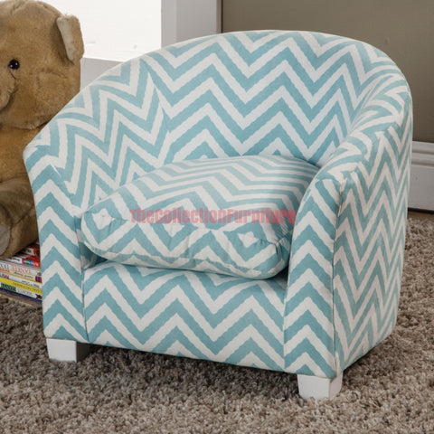 Blue Chevron Accent Chair