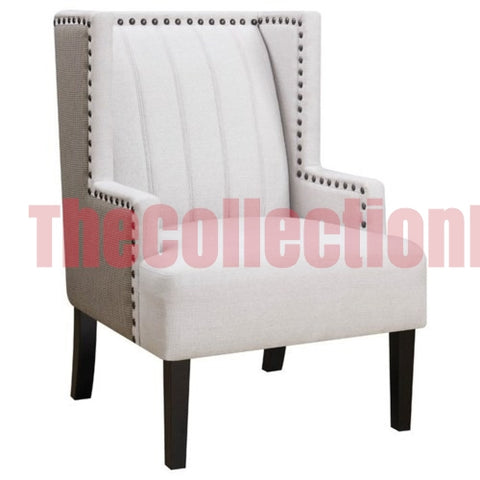 Demi Two Toned Wing Accent Chair with Nailhead Trim