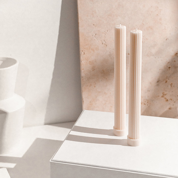 Black Blaze Sydney Column Pillar Candles - Beige, White, Peach, Grey - Soy Pillar Candles - Gift Box Melbourne