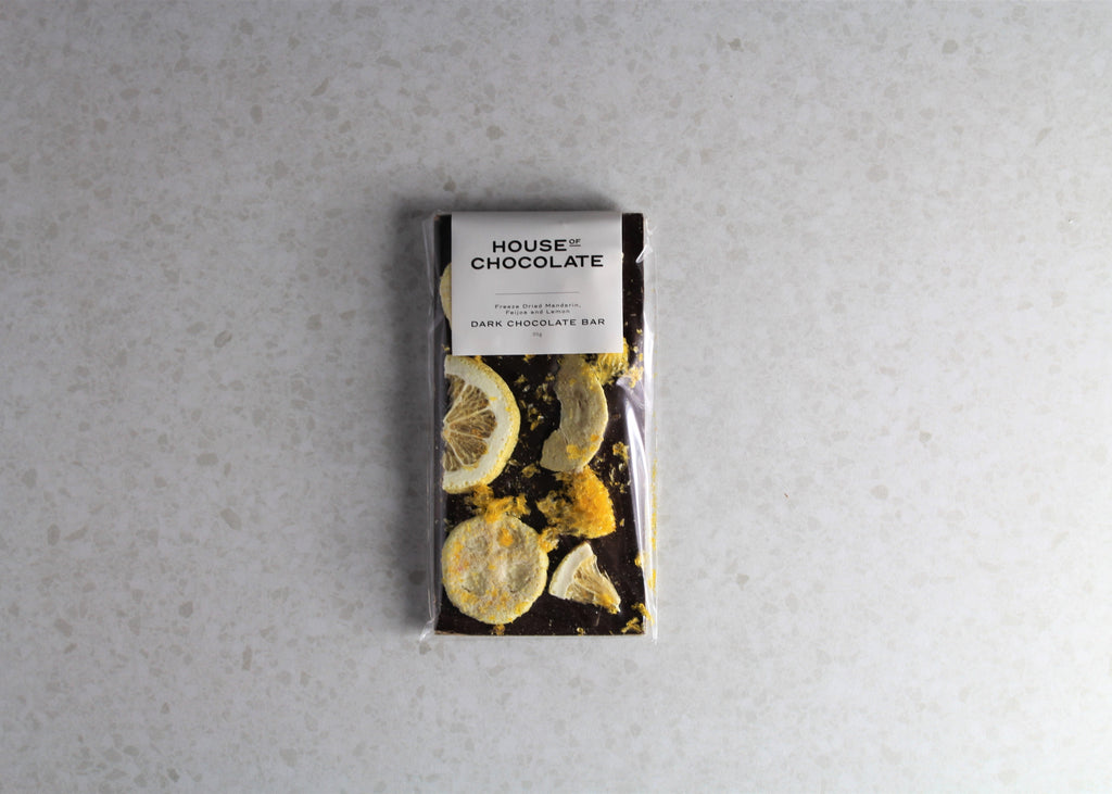 House of Chocolate NZ - Freeze Dried Mandarin, Feijoa, and Lemon Dark Chocolate Bar, Gift Boxes MElbourne.