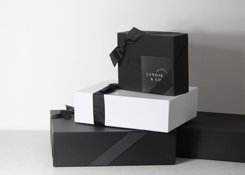 Lenoir & Co, Melbourne gift box boutique, Gifts for her, gifts for him, gifts for home, Luxe reusable packaging. Build-a-box.
