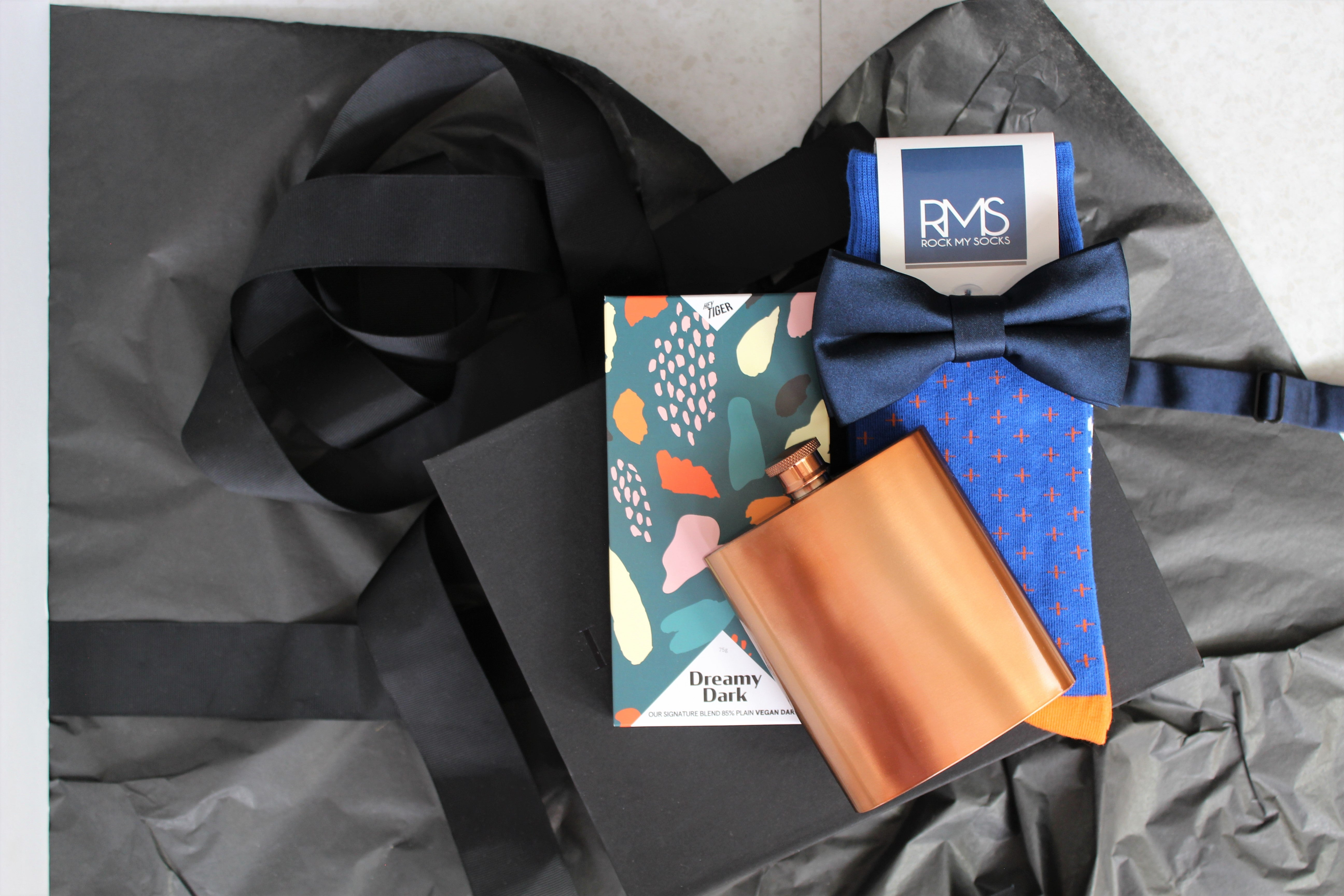 Gift box for men, best man, groomsman, groomsmen, bridal party, groom, wedding contains copper hip flask, dress socks, chocolate and bow tie. Lenoir & Co, Melbourne Gift box Company.