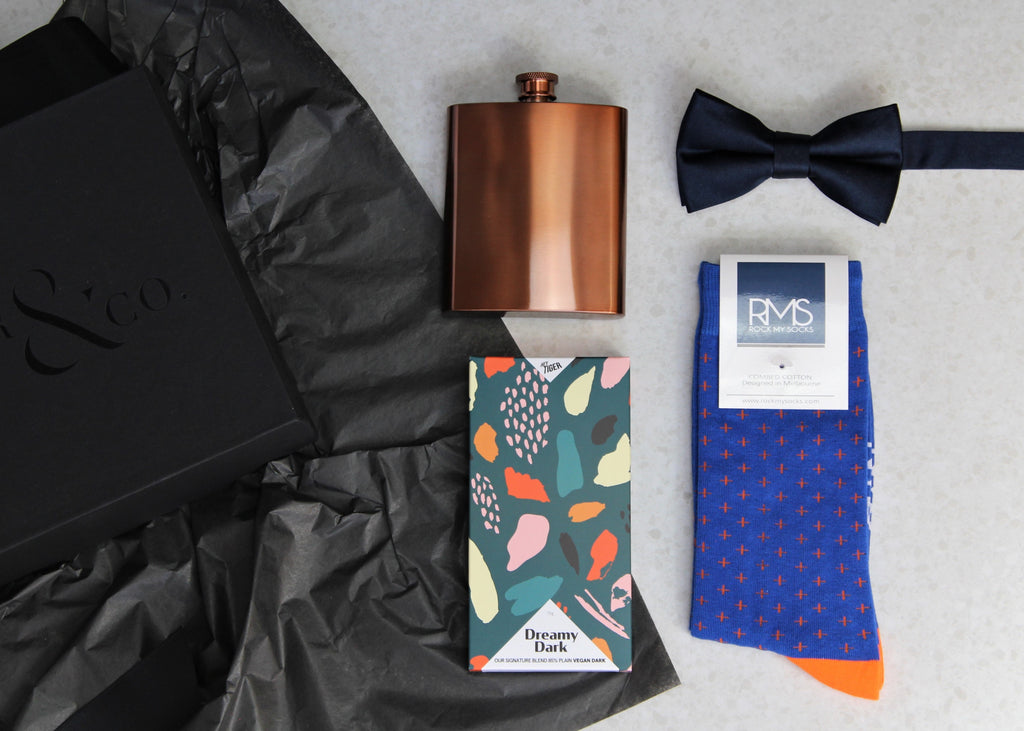 Gift box for men, best man, groomsman, groom, wedding contains copper hip flask, dress socks, chocolate and bow tie. Lenoir & Co, Melbourne Gift box Company.