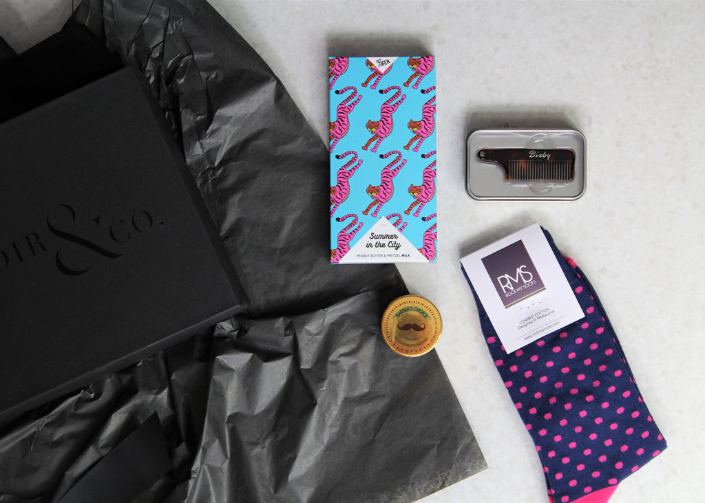 Mr Mo - Gift box for men, gifts for men with a Moustache, contains Moustache wax, Moustache comb, dress socks, chocolate block, vegan chocolate, gift box, gifts for him, Lenoir & co Melbourne gift box company.