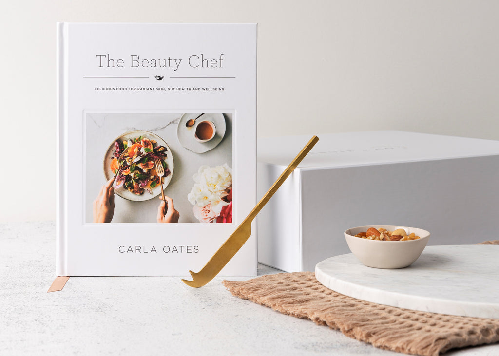 Too Beautiful - The Beauty Chef Recipe Book- Marble Serving Board-Organic Tea Towl-Brass Cheese Knift-Ceramic Bowl - Gift Box-Gifts for Home-Melbourne