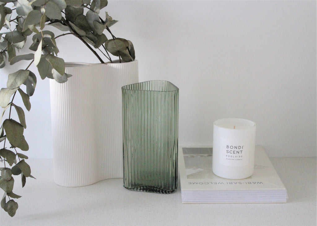 Marmoset  Found Profile Glass Vase, Profile Vase, Green, Coffee, Hand Cast Glass Vase, Mid-Century Glass Vase, Gift Boxes Australia, Lenoir & Co.